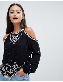 Superdry Cold Shoulder High Neck Top With Embroidered Detail by Superdry