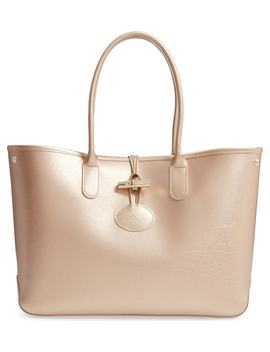 Roseau Metallic Leather Shoulder Tote by Longchamp