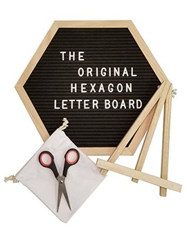The Original Hexagon Felt Letter Board, 12 Inch X 14 Inch: Includes 360 Letters, Numbers & Characters And Free Wall Mounting Hook, Wood Easel Stand, Multi Use Scissors, And Canvas Bag (Black) by Northwell