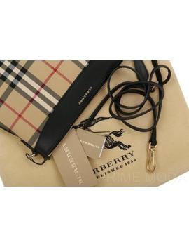 New Burberry Peyton Check Black Leather Cross Body Clutch Bag Purse Wristlet by Burberry