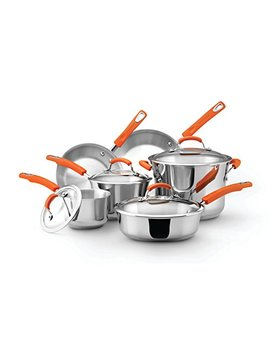 Rachael Ray Classic Brights Stainless Steel 10 Piece Cookware Set, Silver With Orange Handles by Rachael Ray
