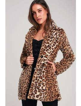Harleston Tan Leopard Print Faux Fur Coat by Lulus