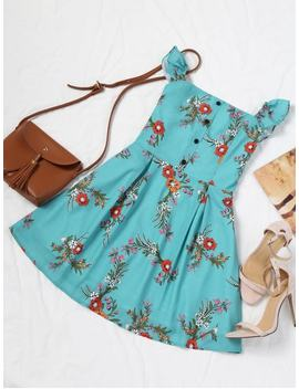 Half Buttoned Floral Off Shoulder Mini Dress   Blue Green S by Zaful