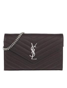 Chain Wallet Medium Monogram 2018 Black Tulip Leather Cross Body Bag by Saint Laurent