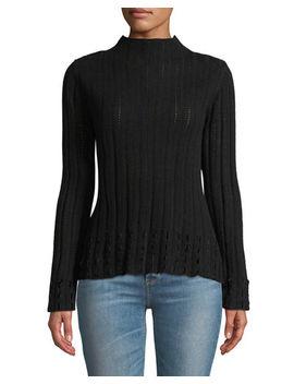 Rib And Pointelle Mock Neck Sweater W/ Velvet Fringe by Quinn