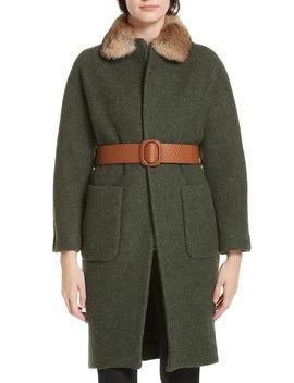 Cary Genuine Rabbit Fur Trim Wrap Coat by Ba&Sh