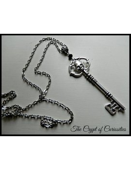 Gothic Antique Silver Skeleton Key Necklace. by Etsy
