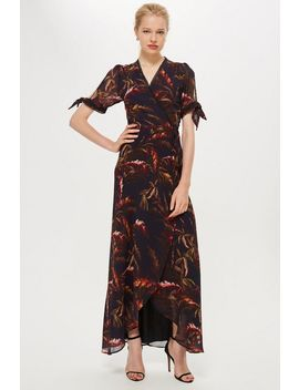 **Tie Arm Fern Print Wrap Dress By Hope & Ivy by Topshop