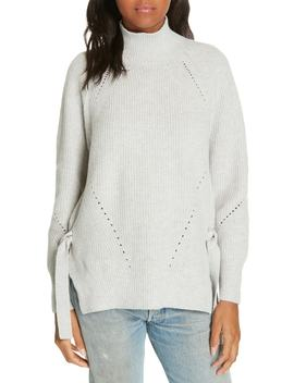 Ribbed Turtleneck Tie Pullover Sweater by Rebecca Taylor