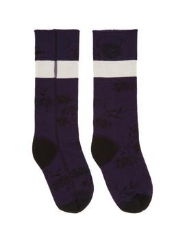 Purple & Black Flower Socks by Haider Ackermann