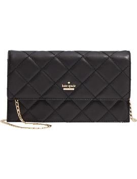 Emerson Place Brennan Quilted Convertible Clutch Shoulder Black Leather Cross Body Bag by Kate Spade