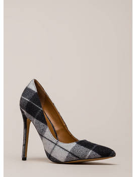 Plaid Influence Pointy Stiletto Pumps by Go Jane