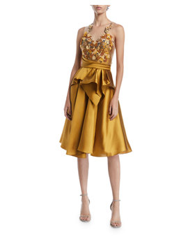 Halter Illusion & Embroidered Bodice Dress by Marchesa Notte