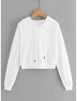 Drawstring Hoodie Solid Sweatshirt by Romwe