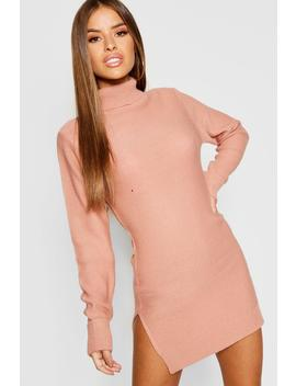 Petite Knitted Roll Neck Jumper Dress by Boohoo