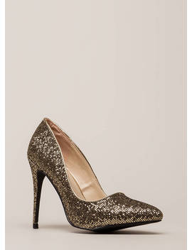 At The Disco Ball Pointy Glittery Pumps by Go Jane