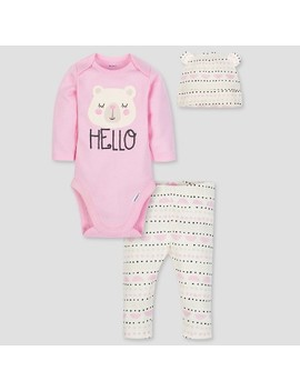 Gerber Baby Girls' 3pc Long Sleeve Bodysuit Cap And Pants Set   Pink/White by Gerber