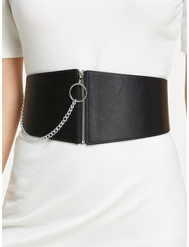 Chain Linked Zipper Belt by Sheinside