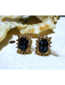14k Sapphire And Diamond Stud Earrings 2.62g 1.60ctw Yellow Gold by Etsy