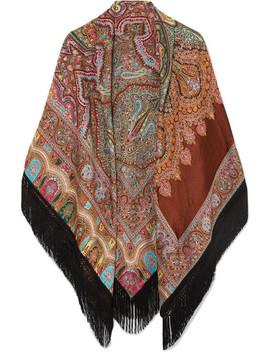 Fringed Paisley Wool Blend Jacquard Wrap by Etro