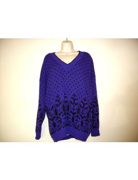 Vintage 1990s Purple & Black V Neck Sweater, Plus Size by Etsy