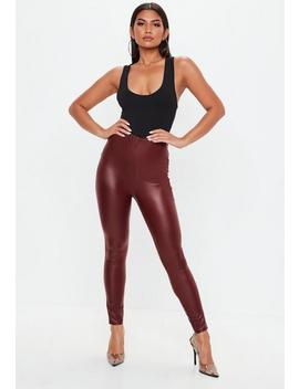 Burgundy Matte Pu Leggings by Missguided