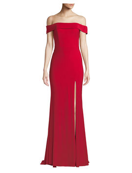 Jersey Off The Shoulder Gown W/ Slit by Faviana