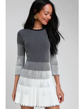 Toria White And Navy Blue Striped Pleated Sweater Dress by Lulus