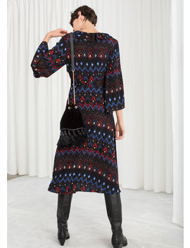 Plunging Printed Midi Dress by & Other Stories