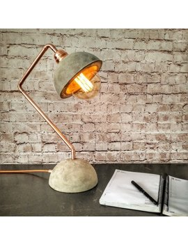 Industrial Concrete Copper Desk Lamp, Concrete Lamp Base Shade, Desk Light, Edison Desk Lamp, Industrial Lighting, Industrial Style Lamp by Etsy