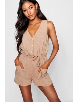 Horn Button Down Pocket Playsuit by Boohoo