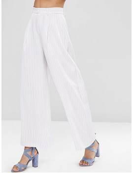 Wide Leg Stripes Pants   White S by Zaful