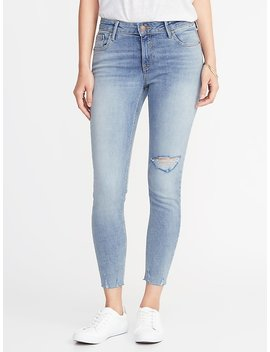 Mid Rise Rockstar Super Skinny Distressed Ankle Jeans For Women by Old Navy
