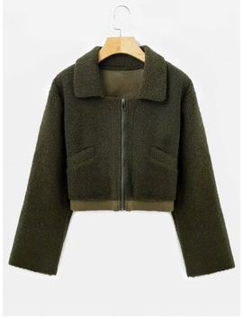 Suede Lining Faux Shearling Jacket   Army Green M by Zaful