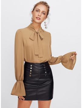 Elastic Trumpet Cuff Bow Tied Blouse by Shein