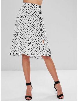 Buttoned Polka Dot Midi A Line Skirt   Multi M by Zaful