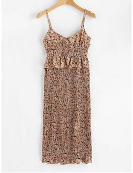 Floral Smocked Pleated Dress   Brown Bear Xl by Zaful