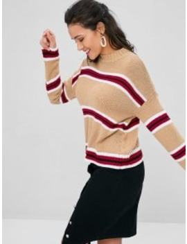 Crew Neck Striped Sweater   Brown Sugar by Zaful