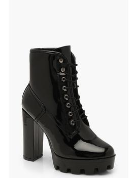 Cleated Patent Heeled Hiker Boots by Boohoo