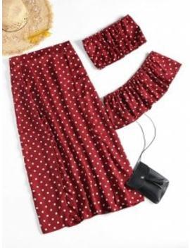 Off Shoulder Polka Dot Slit Skirt Set   Wine Red M by Zaful