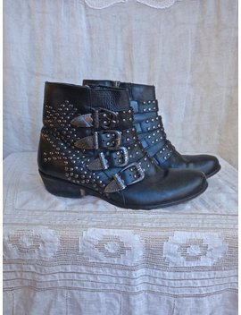 Buckled Studded Ankle Boots Ladies Size 8 by Etsy