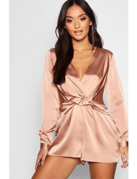 Petite Satin Twist Front Playsuit by Boohoo