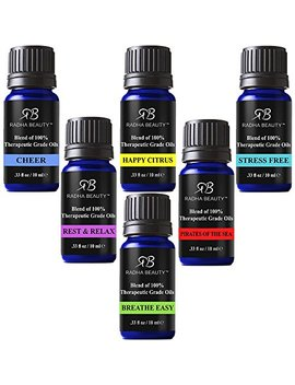 Radha Essential Oil Blends Set   100 Percents Pure And Natural Kit For Aromatherapy Sea Of Thieves, Stress Free, Rest & Relax, Breathe Easy, Cheer, Happy Citrus, Great Gift   6/10 Ml by Radha Beauty