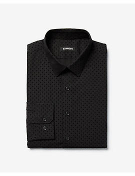 Slim Flocked Dot Cotton Dress Shirt by Express