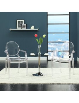 Modway Casper Modern Acrylic Dining Armchairs In Clear   Set Of 2 by Modway
