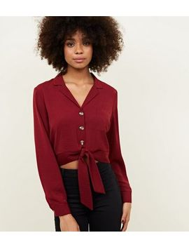 Burgundy Cropped Tie Front Shirt by New Look