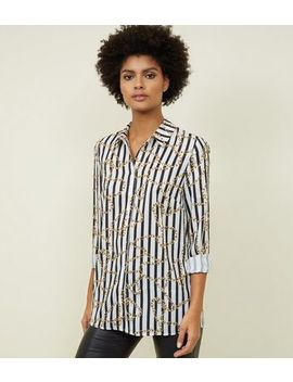 White Stripe Chain Print Shirt by New Look