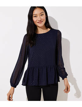 Swiss Dot Tie Back Peplum Blouse by Loft