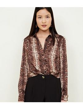 Brown Snake Print Crepe Satin Shirt by New Look