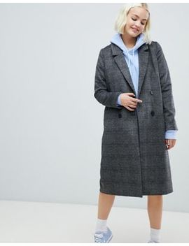 Monki Check Tailored Coat In Gray by Monki